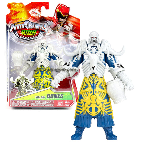 Bandai Year 2015 Saban's Power Rangers Dino Charge Series 5-1/2 Inch Tall Action Figure - Villain BONES with White Jar