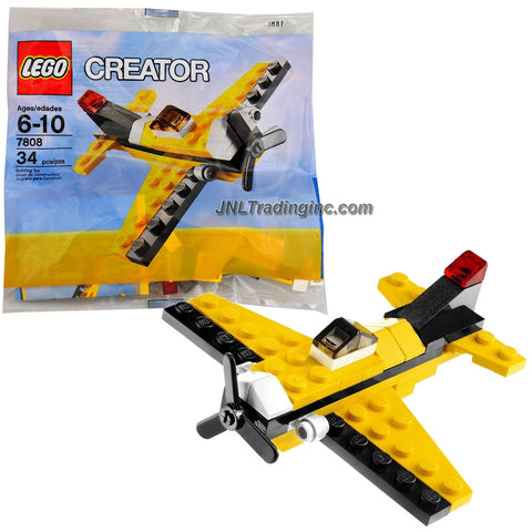 Lego Year 2010 Creator Series Bagged Set # 7808 - Single Propeller Yellow Airplane (Total Pieces: 34)
