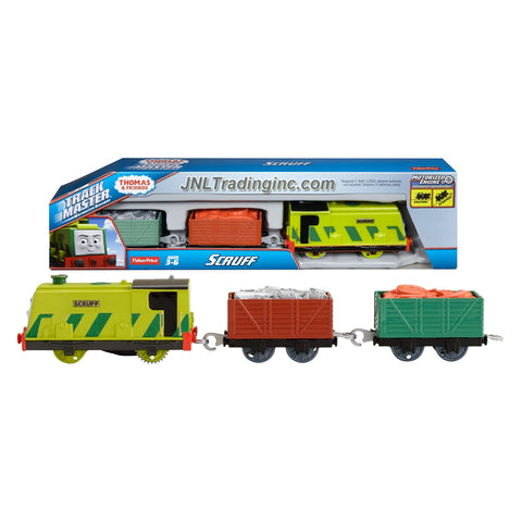 Fisher Price Year 2014 Thomas and Friends Trackmaster Motorized Railway 3 Pack Train Set - SCRUFF the Boxy Tank Engine (CFF93) with 2 Wagon and 2 Removable Trash Load
