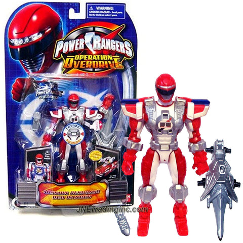 Bandai Year 2007 Power Rangers Operation Overdrive Series 6 Inch Tall Action Figure - MISSION RESPONSE RED RANGER with I.D. Tech Chip Inside Plus Cell Phones and Sword
