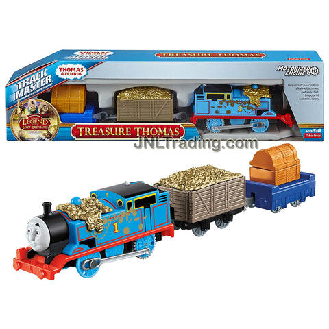 Fisher Price Year 2015 Thomas & Friends Trackmaster Series Motorized Railway 3 Pack Train Set - TREASURE THOMAS with Treasure Loaded Wagon and Trailer with Treasure Chest