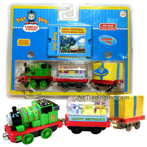 Learning Curve Year 2006 Thomas and Friends Take Along Series Die Cast Metal Train Set - SODOR BIRTHDAY CELEBRATION CARS with Percy, Cake Snow Globe and Present Car