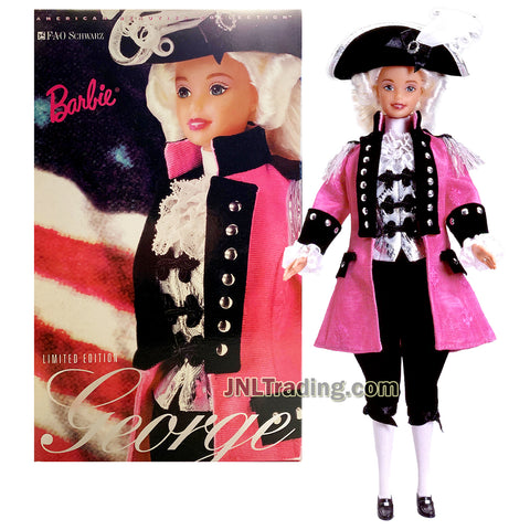 Year 1996 Barbie FAO Schwarz Limited Edition American Beauties Collection Series 12 Inch Doll - GEORGE WASHINGTON with Jacket, Jabot, Vest, Knickers, Socks, Hat, Hair Ribbon, Shoes and Doll Stand