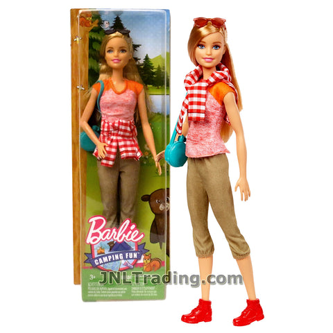 Mattel Year 2016 Barbie Camping Fun Series 12 Inch Doll - BARBIE FGC94 in Pink Shirt and Brown Capris with Blue Purse and Sunglasses