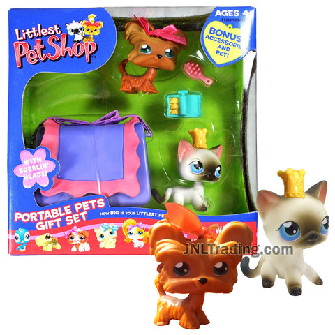 Year 2006 Littlest Pet Shop LPS Portable Pets Gift Set Series Bobble Head Figure Set - Yorkshire Terrier and Siamese Cat with Carrier