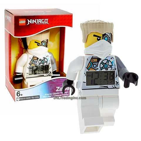 "Lego Year 2014 Ninjago Masters of Spinjitzu Series 8"" Tall Figure Alarm Clock Set# 9003080 - ZANE with Moving Arms and Legs Plus Backlight Display"