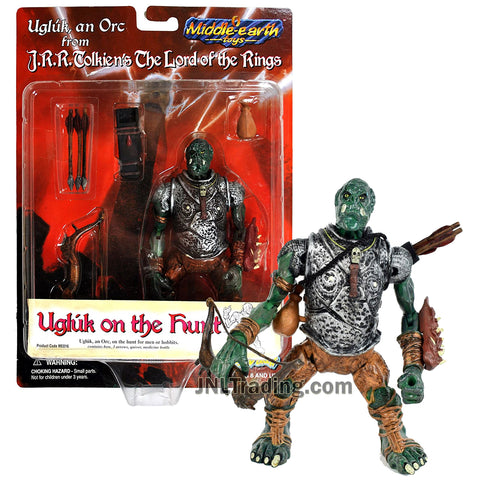 Year 1998 Middle Earth Lord of the Rings 5 Inch Tall Orc Figure - UGLUK on the Hunt with Bow, Arrows, Quiver and Pouch