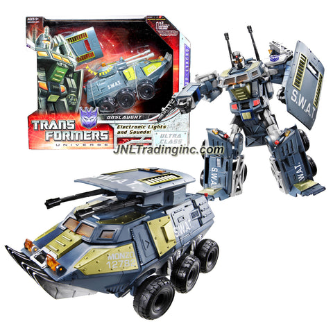 Hasbro Year 2008 Transformers Universe Classic Series Ultra Class 9 Inch Tall Robot Action Figure - Decepticon ONSLAUGHT with Blaster and Shield Plus Electronic Lights and Sounds (Vehicle Mode : Assault Vehicle)