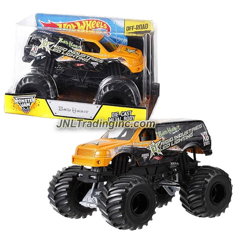 "Hot Wheels Year 2013 Monster Jam 1:24 Scale Die Cast Official Monster Truck Series - Joe Sylvester Rigid Industries Led Lighting XD Series BAD HABIT (BGH43) with Monster Tires, Working Suspension and 4 Wheel Steering (Dimension - 7"" L x 5-1/2"" W x 4-1/2"" H)"