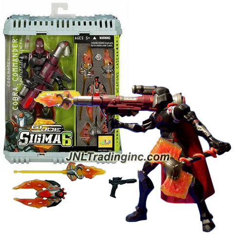 Hasbro Year 2006 G.I. Joe Sigma 6 Commando Series 8 Inch Tall Action Figure - Battlefield General COBRA COMMANDER with Axe, Missile Launcher, Power Stone Canister, Pistol with Clip, Helmet, Two Flame-Core Missiles, Fusion Blaster and Weapon Case