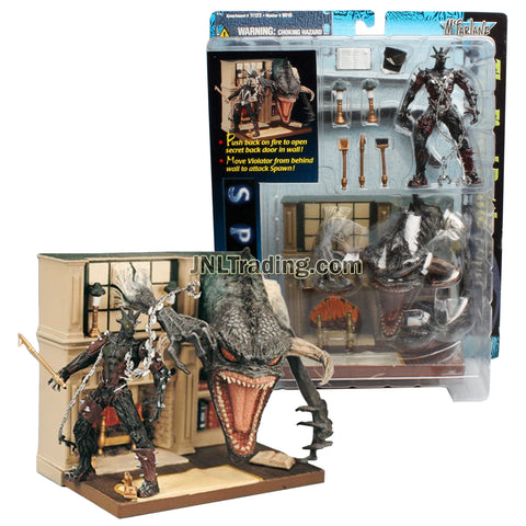 Year 1997 McFarlane Toys Spawn Series THE FINAL BATTLE Playset with Spawn and Violator Wall Diorama Base Plus Accessories