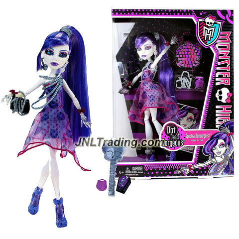 "Mattel Year 2011 Monster High Dot Dead Gorgeous Series 10 Inch Doll - Spectra Vondergeist ""Daughter of a Ghost"" with Purse, Cosmetic Mirror, Hairbrush and Doll Stand (X4531)"