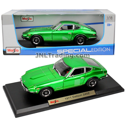 Maisto Special Edition Series 1:18 Scale Die Cast Car Set - Metallic Green Classic 2-Seat Sports Coupe 1971 Nissan DATSUN 240Z with Display Base