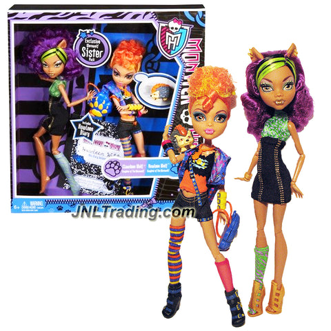 "Mattel Year 2011 Monster High Diary Series 2 Pack 11 Inch Doll Set - ""Daughters of the Werewolf"" CLAWDEEN WOLF and HOWLEEN WOLF with Pet ""Cushion"" Hedgehog, Paw-Shaped Backpack and Diary of Howleen Wolf"