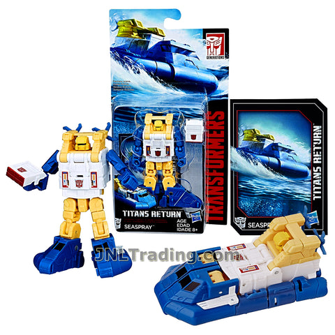 Hasbro Year 2016 Transformers Titans Return Series Legends Class 4 Inch Tall Robot Figure - SEASPRAY with Blaster & Card (Vehicle Mode: Hover Boat)