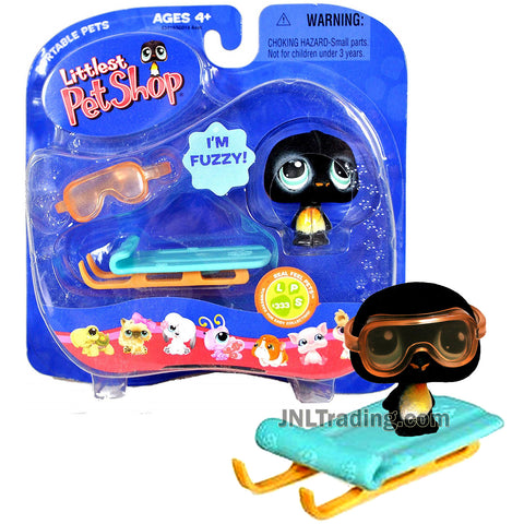Year 2007 Littlest Pet Shop LPS Portable Pets Real Feel Series Bobble Head Figure - PENGUIN #333 with Snow-Sled and Goggle