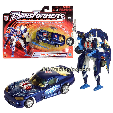 "Hasbro Year 2001 Transformers ""Robots In Disguise"" Series 5 Inch Tall Robot Action Figure - BLUE Speedy Knight Autobot SIDE BURN with Blaster Gun, Bow Missile Launcher and 1 Missiles (Vehicle Mode: Dodge Viper Muscle Car)"