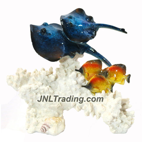 Amy and Addy Marine Life Decorative Art Resin Statue - BLUE STINGRAY AND BUTTERFLY FISH WITH WHITE CORAL Sculpture
