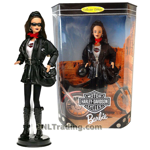 Barbie Year 1998 Harley-Davidson Motorcycle Series 12 Inch Doll Set - BARBIE with Harley Cap, Red Scarf, Jacket, Satchel Bag, Helmet and Doll Display Stand