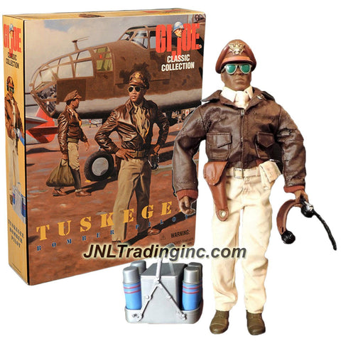 Hasbro Year 1996 Limited Edition G.I. JOE World War 2 Forces Classic Collection Series 12 Inch Tall Soldier Action Figure - TUSKEGEE BOMBER PILOT with Headphones, Sunglasses, A-2 Flight Jacket, GI Shoes, First Air Pouch, Pistol with Holster, 4 Bottles, Container and Dog Tags