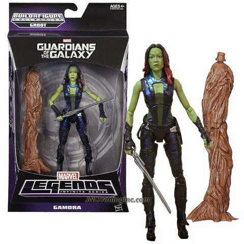 "Hasbro Year 2013 Marvel Legends Infinite Groot Series 6"" Tall Action Figure - Guardians of the Galaxy GAMORA with Sword Plus Groot's Left Leg"