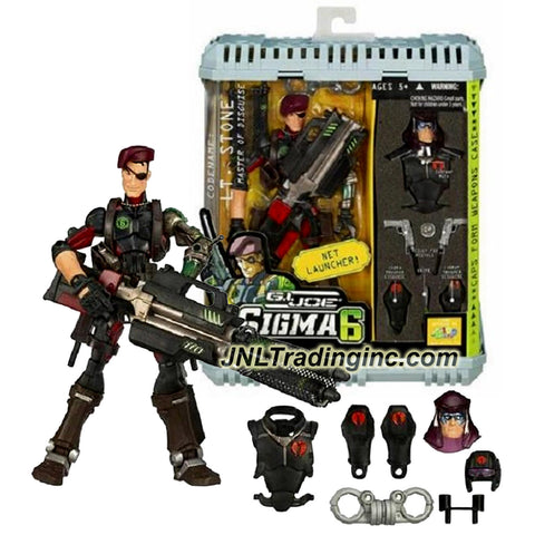Hasbro Year 2006 G.I. JOE Sigma 6 Classified Series 8 Inch Tall Action Figure - Master of Disguise LT. STONE with Zartan Mask, Cobra Uniform, Cobra Leg Cover, 2 Pistols, Handcuff, Net Launcher, Net Missile and Weapons Case