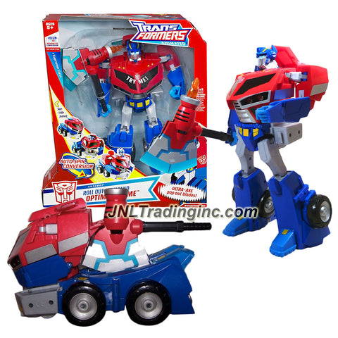 Hasbro Year 2008 Transformers Animated Series Supreme Class 12 Inch Tall Robot Action Figure - Autobot ROLL OUT COMMAND OPTIMUS PRIME with Ultra Axe, Auto-Spin Conversion Plus Electronic Lights and Sounds