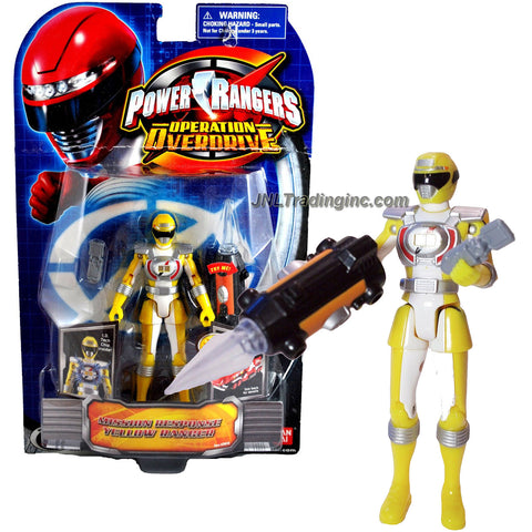 "Bandai Year 2007 Power Rangers Operation Overdrive Series 6 Inch Tall Action Figure - Mission Response Yellow Ranger with I.D. Tech Chip Inside Plus Morpher and ""Light-Up"" Blaster"