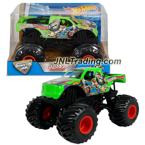 Hot Wheels Year 2016 Monster Jam 1:24 Scale Die Cast Metal Body Official Monster Truck - BAD NEWS TRAVELS FAST (DJW97) with Monster Tires, Working Suspension and 4 Wheel Steering