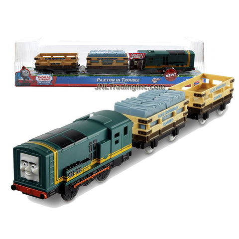 "Fisher Price Year 2012 Thomas and Friends Greatest Moments Series ""Blue Mountain Mystery"" Trackmaster Motorized Railway Battery Powered Tank Engine 3 Pack Train Set - PAXTON IN TROUBLE with Blue Mountain Quarry Clip Slate Truck and Blue Mountain Quarry Slate Truck (X0764)"