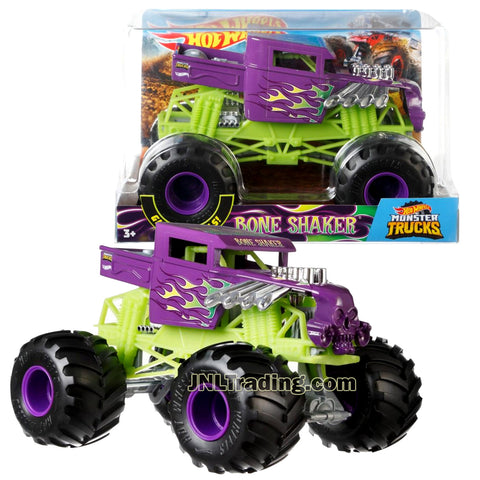 Hot Wheels Year 2018 Monster Jam 1:24 Scale Die Cast Metal Body Truck - Purple BONE SHAKER FYJ90 with Monster Tires, Working Suspension and 4 Wheel Steering