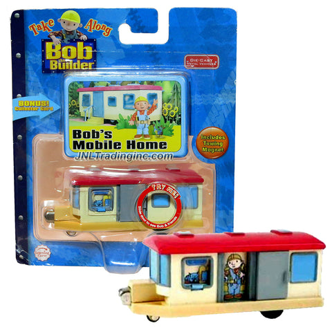 Learning Curve Year 2006 Bob the Builder Take Along Series Die Cast Metal Vehicles - BOB'S MOBILE HOME with Towing Magnet Plus Collector Card
