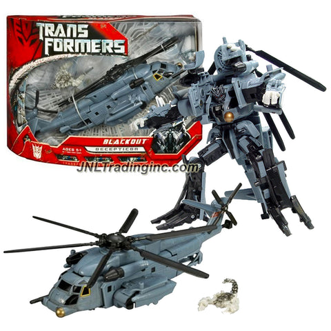 Hasbro Year 2006 Transformers Movie Series 7 Inch Tall Voyager Class Robot Action Figure - Decepticon BLACKOUT with Spinning Blade Grinder and Scorponok Mini-Figure (Vehicle Mode: Pave Low Helicopter)