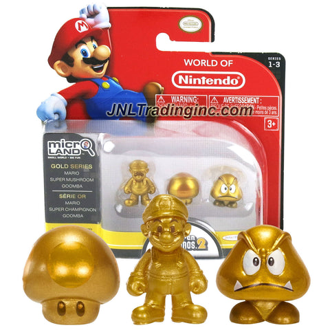 "Jakks Pacific Year 2015 World of Nintendo ""Super Mario Bros 2"" Series 3 Pack 1 Inch Tall Micro Land Mini Figure - Gold Mario, Gold Super Mushroom and Gold Goomba"