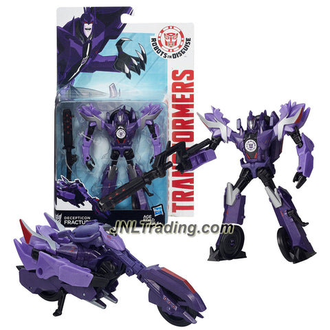 "Hasbro Year 2015 Transformers Robots in Disguise Animation Warrior Class 5-1/2"" Tall Figure - Decepticon FRACTURE with Blaster (Vehicle: Motorcycle)"