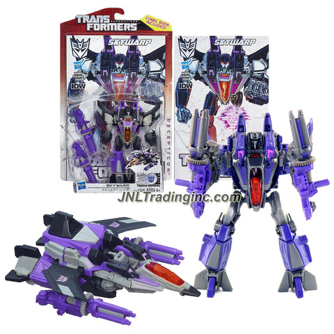 "Hasbro Year 2013 Transformers Generations ""Thrilling 30"" Series Deluxe Class 6 Inch Tall Robot Action Figure #012 - Decepticon SKYWARP with 2 Rotating Cannons and Comic Book (Vehicle Mode: Cybertronian Fighter Jet)"