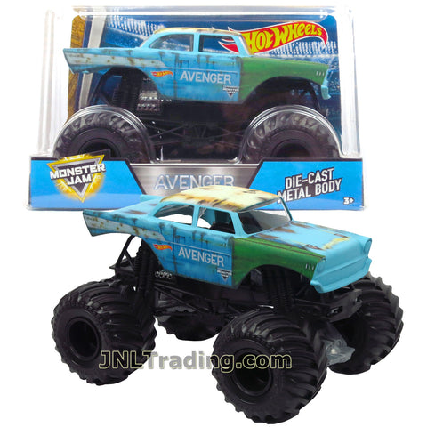 Hot Wheels Year 2017 Monster Jam 1:24 Scale Die Cast Metal Body Official Truck - AVENGER FMB62 with Monster Tires, Working Suspension and 4 Wheel Steering