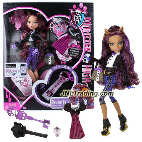 "Mattel Year 2011 Monster High ""Sweet 1600"" Series 12 Inch Doll - Clawdeen Wolf ""Daughter of The Werewolf"" with 2 Pair of Outfits, Purse, Hairbrush and Skeleton Key"