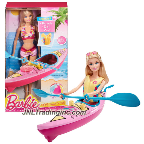Mattel Year 2013 Barbie Beach Series 12 Inch Doll Set - LET'S GO KAYAK! (CCV22) with Barbie Doll, Kayak and Vest