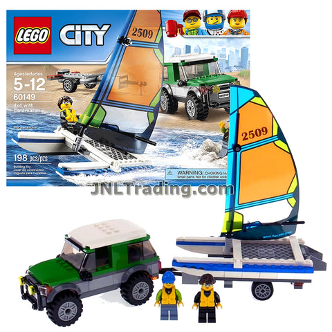 Lego Year 2017 City Series Set 60149 - SUV 4x4 with CATAMARAN Plus Detachable Trailer, Catamaran Pilot and Driver Minifigures (Total Pieces: 198)