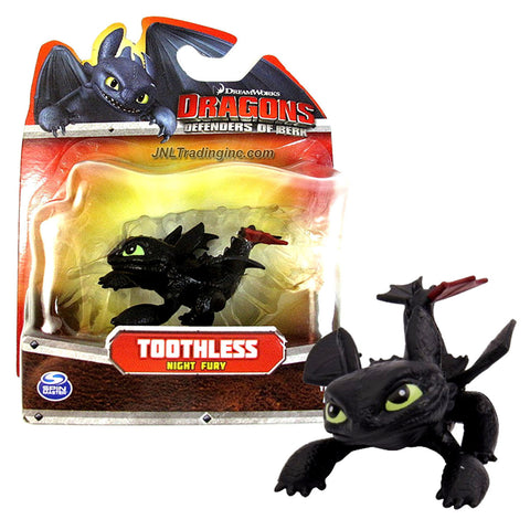"Spin Master Year 2013 Dreamworks Movie Series ""DRAGONS - Defenders of Berk"" 3 Inch Long Dragon Figure - Crouching Night Fury TOOTHLESS with Red Tail Fin"