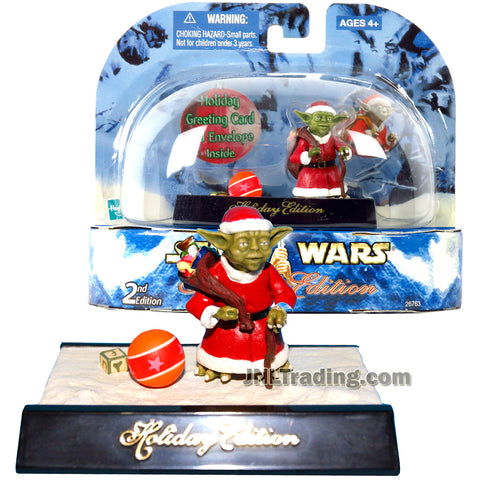 Star Wars Year 2003 Holiday Edition Series 2 Inch Tall Figure - YODA with Gift Bag, Basketball and Display Base