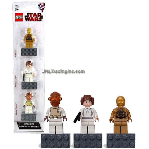 Lego Year 2010 Star Wars Character Minifigure Magnets Series 3 Pack Set # 852843 : C-3PO, Princess Leia with Blaster and Admiral Ackbar Minifigures with Magnet Base