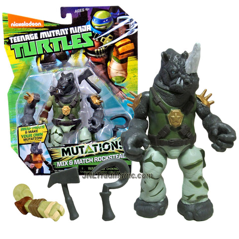 "Playmates Year 2015 Teenage Mutant Ninja Turtles TMNT ""Mutations Mix and Match"" Series 5-1/2 Inch Tall Action Figure - ROCKSTEADY with Mallet, Hook and 1 Extra Turtle Right Arm"