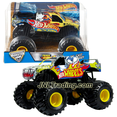 Hot Wheels Year 2016 Monster Jam 1:24 Scale Die Cast Metal Body Official Monster Truck - TEAM HOTWHEELS FIRESTORM (DJW83) with Monster Tires, Working Suspension and 4 Wheel Steering