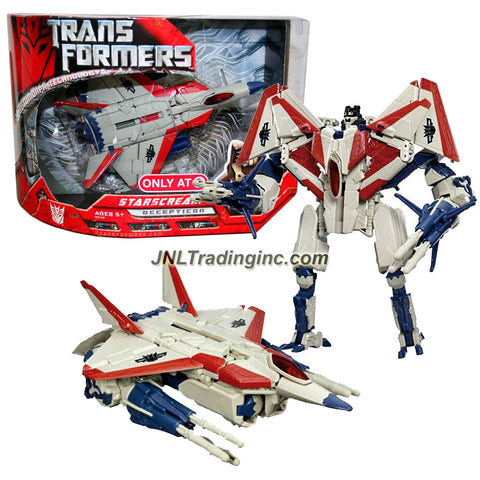 Transformer Year 2007 Movie Series Exclusive Voyager Class 7 Inch Tall Figure - STARSCREAM with G1 Deco, Missile Launchers and 6 Missiles (Vehicle Mode: F-22 Raptor Jet)