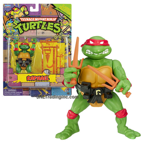 "Playmates Year 2013 Teenage Mutant Ninja Turtles TMNT ""1988 Classic Collection Reproduction"" Series 5 Inch Tall Action Figure - RAPHAEL with Pair of Sais, Ninja Stars, Hook Sword Plus More Weapon Accessories"