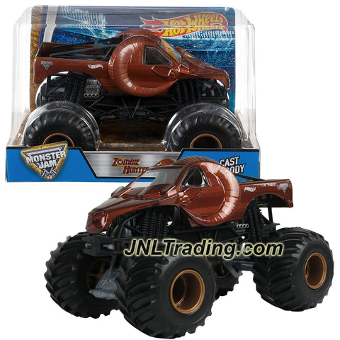Hot Wheels Year 2016 Monster Jam 1:24 Scale Die Cast Metal Body Official Truck - ZOMBIE HUNTER (DHY71) with Monster Tires, Working Suspension and 4 Wheel Steering