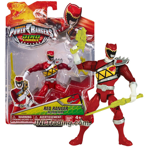Bandai Year 2014 Saban's Power Rangers Dino Charge Series 5 Inch Tall Figure - Action Hero RED RANGER with Blaster and Sword