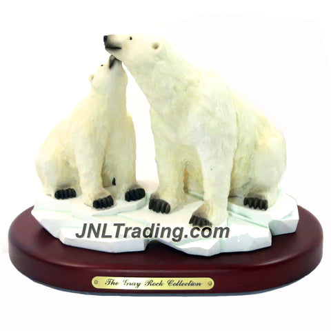 Amy and Addy The Gray Rock Collection Series Wildlife Animal Resin Decorative Statue - POLAR BEAR COUPLE ON ICEBERG Sculpture with Base